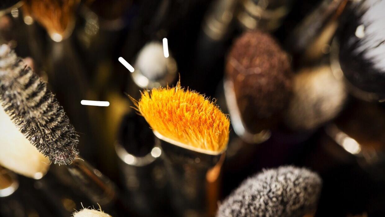 Make-up brush detail during London Fashion Week 2016