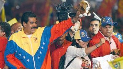 El presidente en funciones de Venezuela, Nicolás Maduro, en plena campañ...