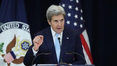 John Kerry, actual secretario de Estado, durante la intervención en la q...