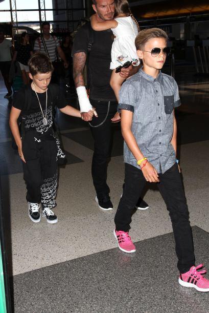 Los pequeños no se separaron en ningún momento de Beckham.