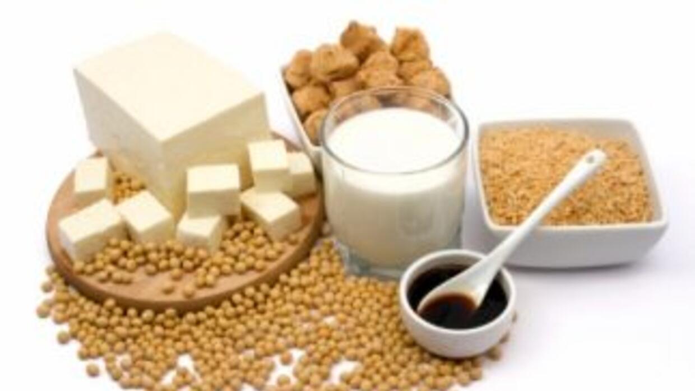 El tofu, la leche de soya y la salsa de soya todos están derivados del f...