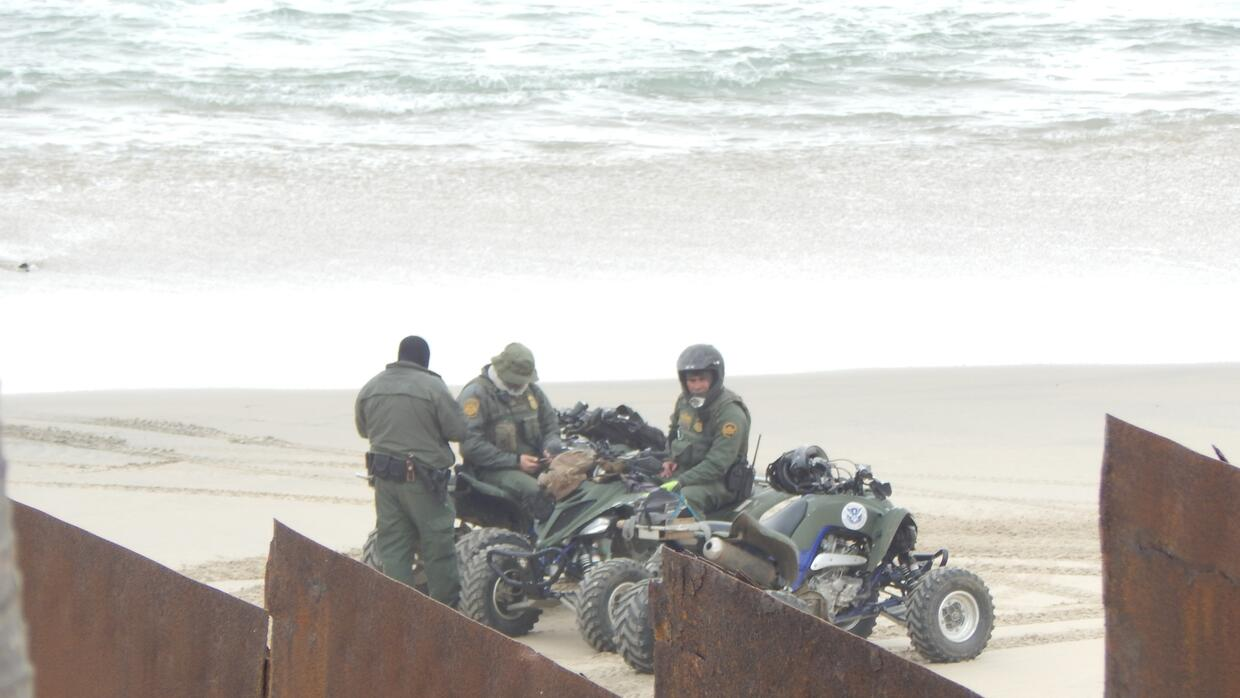 Border Patrol on the U.S. side of the border wall at Playas, Tijuana