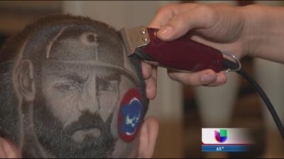 Barbero hispano replica rostro de Jake Arrieta en cabeza de los fanático...