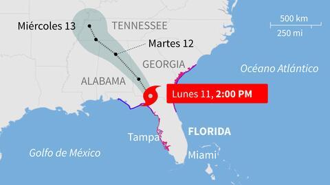El huracán Irma se degradó a tormenta tropical mientras se desplaza por...