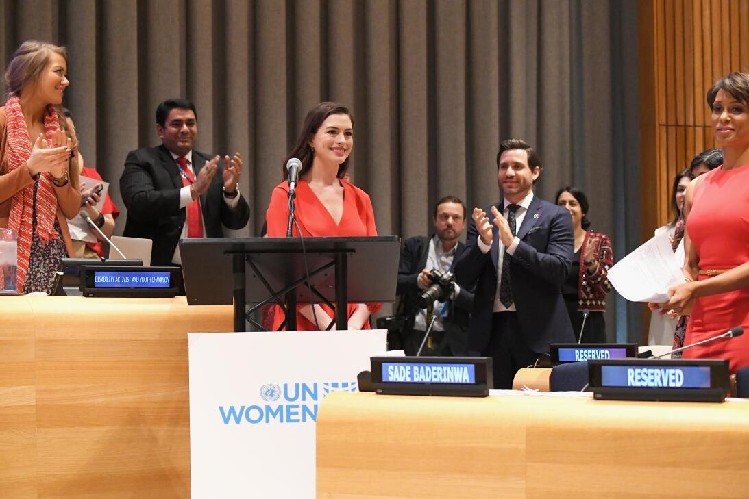 UN Women Goodwill Ambassador Anne Hathaway speaks at the UN Internationa...