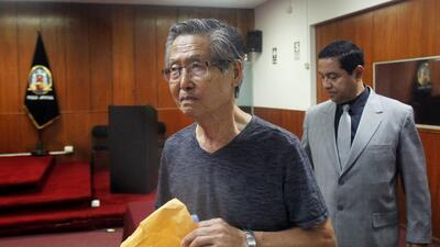 El expresidente de Perú Alberto Fujimori en una corte de Lima en enero d...