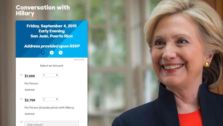 Actividad recaudación fondos de Clinton en PR
