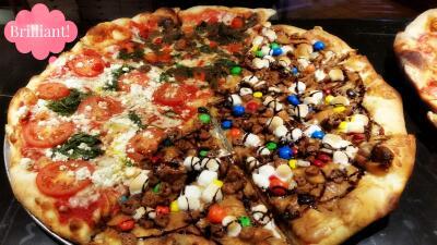 Pizza margarita con chocolate