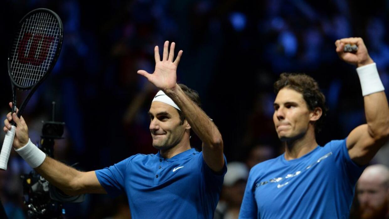 Rafael Nadal y Roger Federer vencieron a los estadounidenses Sam Querrey...