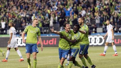 Nelson Haedo Valdez, Seattle Sounders celebra su victoria sobre LA Galaxy