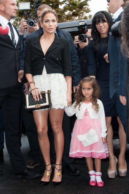 Jennifer Lopez and her daughter Emme Maribel Muniz arrive at the Chanel...