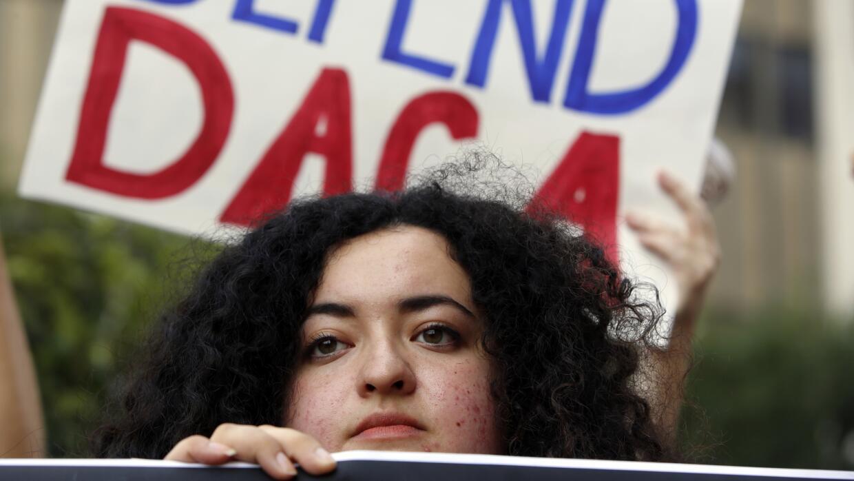 La dreamer Maria Carolina Gómez en una protesta a favor de DACA en Los Á...