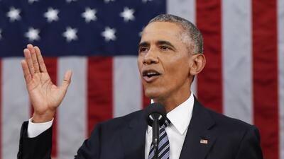 El presidente Obama en su último discurso del estado de la unión.