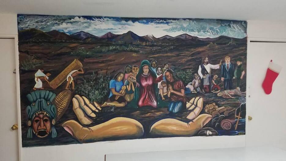 Un mural en un albergue de inmigrantes.