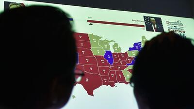 Una visualización del mapa electoral de EEUU durante las elecciones pres...