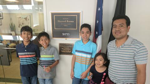 Jesús López Lara with his four U.S.-born children in front...