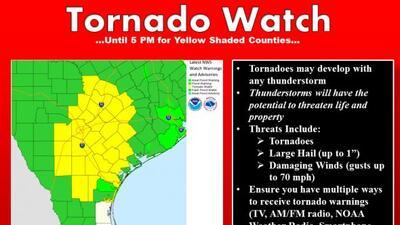 El Servicio Nacional de Meteorología libró una alerta de tornado que est...
