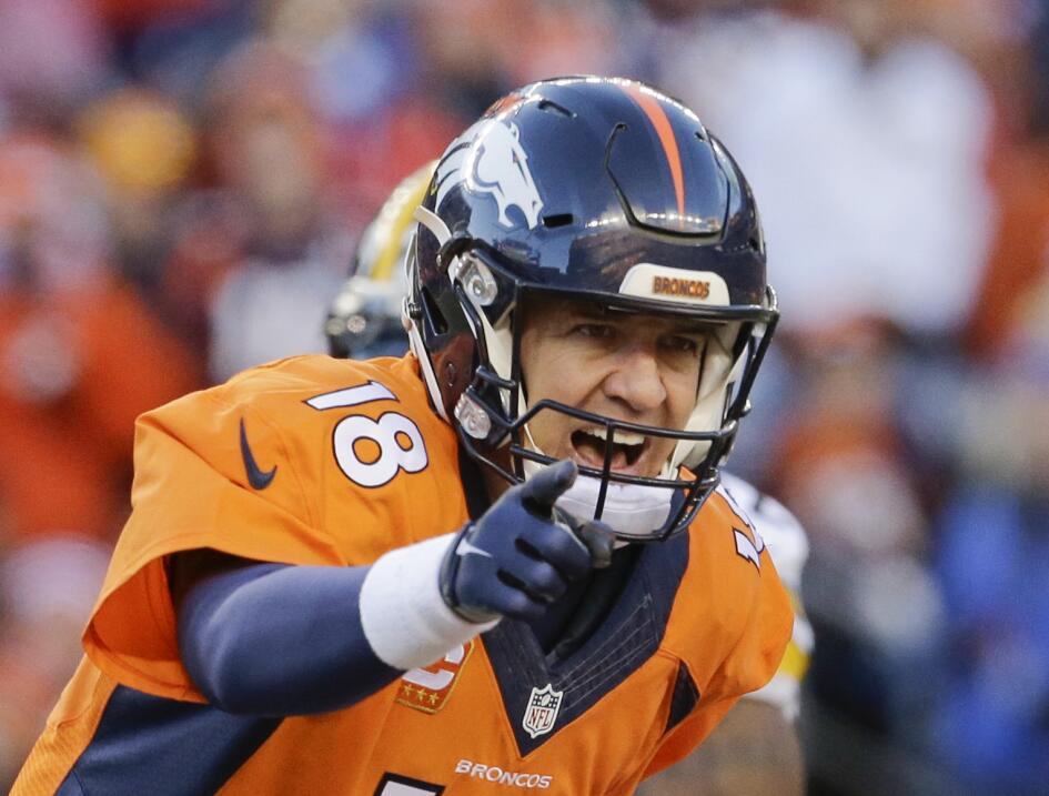 """El """"Omaha"""" de Peyton Manning resonada en todo el Estadio de la Milla Alta."""