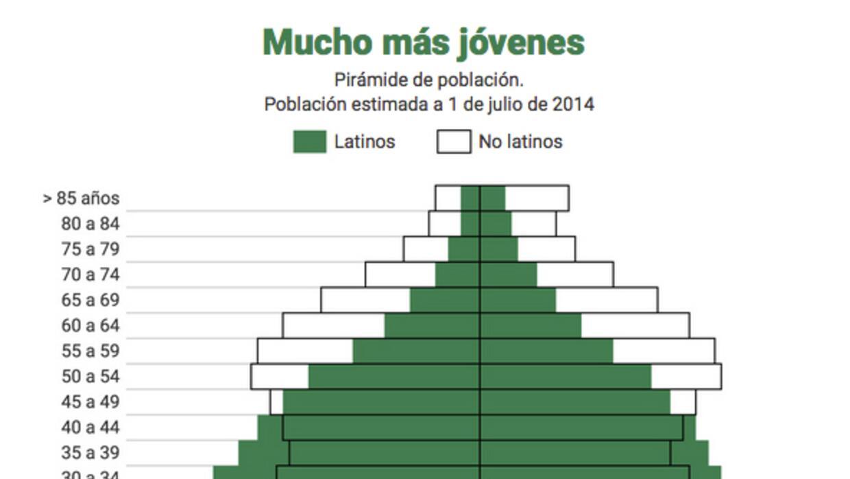 Pirámide edad latinos EEUU
