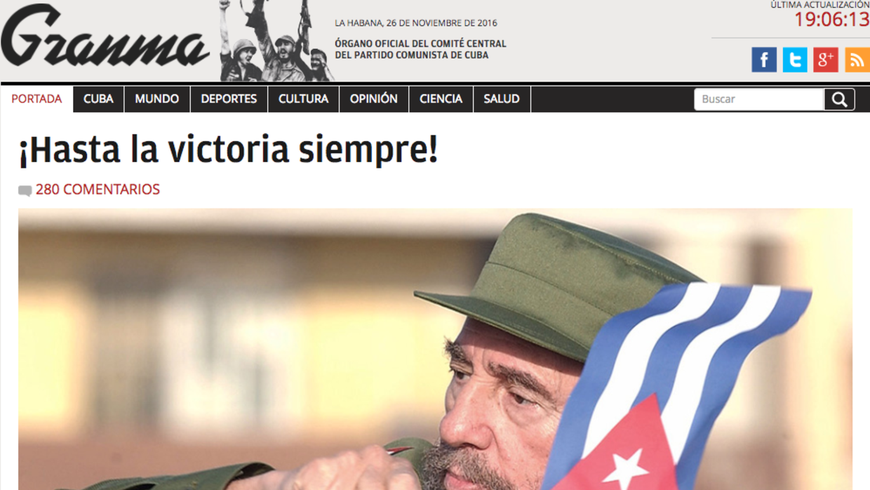 El diario estatal cubano Granma desplegó una imagen de Fidel Cast...