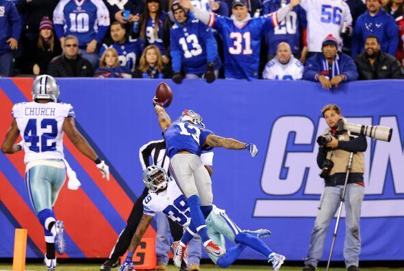 Odell Beckham, novato de los New York Giants, realizó la mejor recepción...