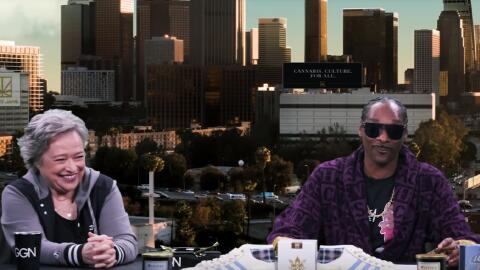 Rapper Snoop Dogg sits down to interview Kathy Bates on an episode of 'G...