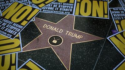 La estrella de Trump en Hollywood ha sido blanco de manifestaciones en s...