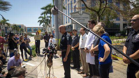 Authorities offer a press conference outside the Hollywood Hills Rehabil...