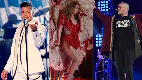 Ricky Martin, Jennifer Lopez y Bad Bunny en la transmisión de 'On...