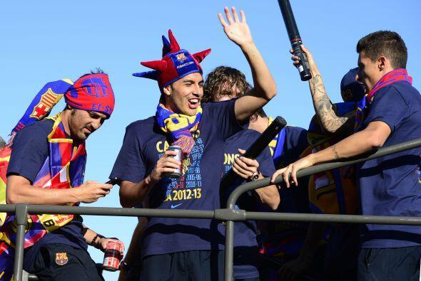 Aquí se ve a David Villa, Pedro, Carles Puyol y Cristian Tello.