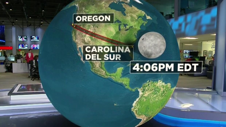 El recorrido de la sombra lunar del eclipse de sol que atraviesa todo EEUU