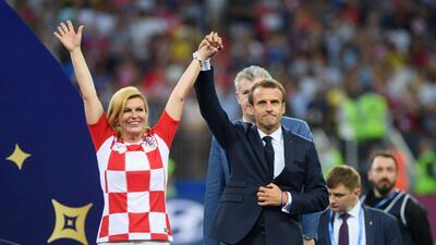 En fotos: Emanuel Macron y Kolinda Grabar Kitarovic, los invitados de honor a la final del Mundial