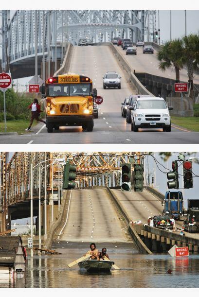 Un autobús escolar deja un estudiante frente al Puente Claiborne en el L...