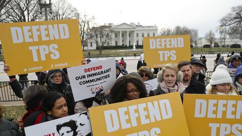 Imagen de archivo de una manifestación a favor del TPS frente a la Casa...