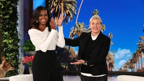 Michelle Obama gabró junto a la conductora Ellen Degeneres su pri...