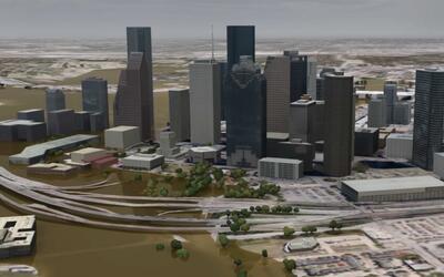 Animación ilustra un escenario de inundación en Houston tras marejada de...