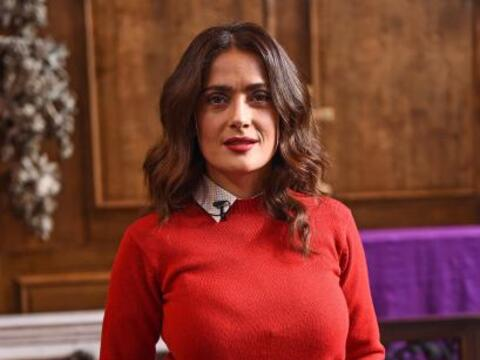 Salma estuvo en Londres hablando en una conferencia.