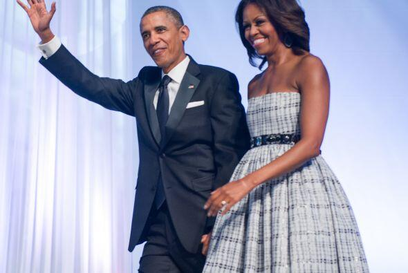 Barack Obama y Michelle Obama en el Centro de Convenciones de Washington...