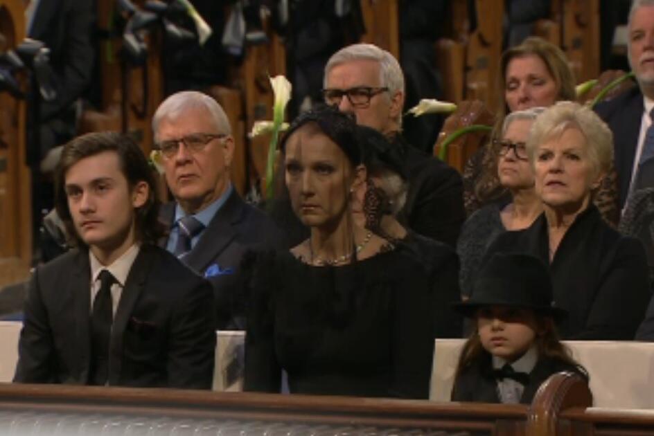 Celine en el funeral de René Angélil