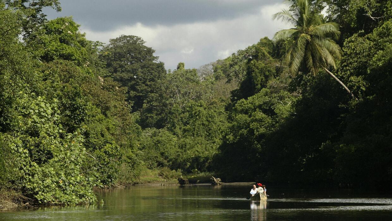 Un grupo de turistas en el río Sirena de Costa Rica.