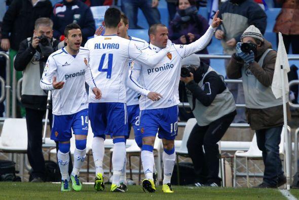 El jugador del Zaragoza logró un doblete en favor de los 'Maños', que se...