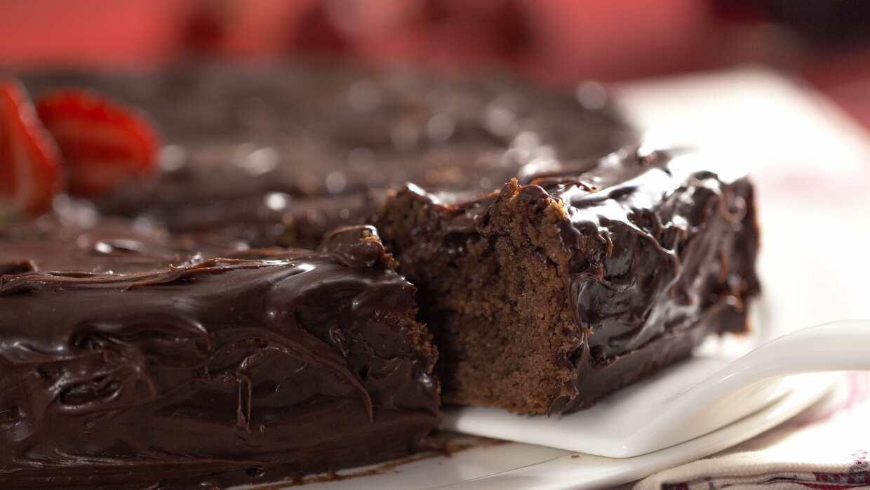 Torta de chocolate con un amoroso toque de vino tinto.