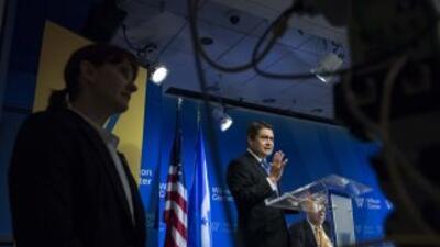 El presidente hondureño, Juan Orlando Hernández, durante su visita a Was...