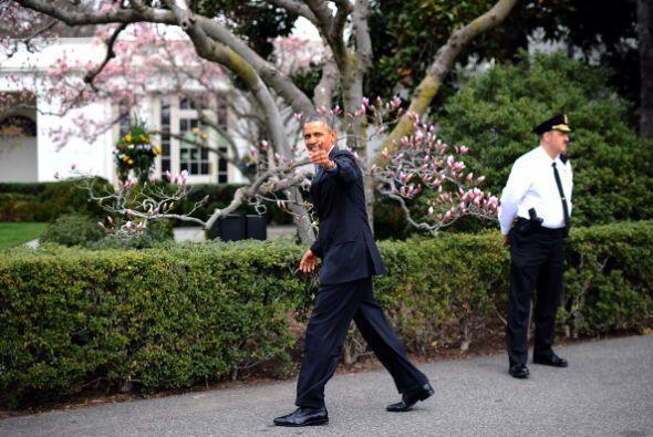 Obama se mostró de buen humor desde su llegada.