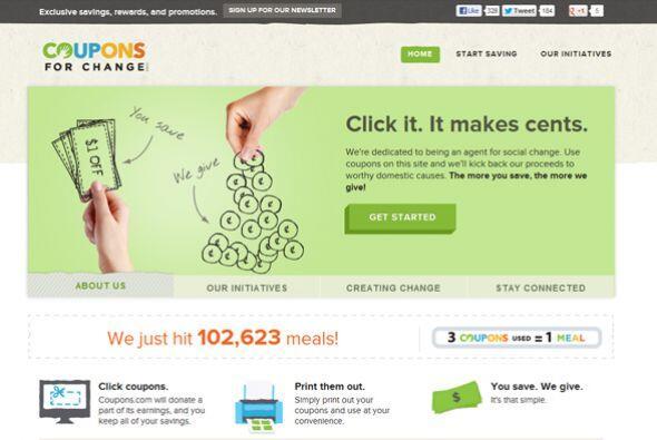 CouponsForChange.org  Calificación de CR: Muy bueno para retribuir.  Est...