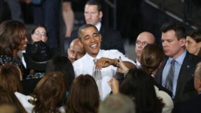 El presidente Barack Obama y su esposa Michelle en la escuela Coral Reef...