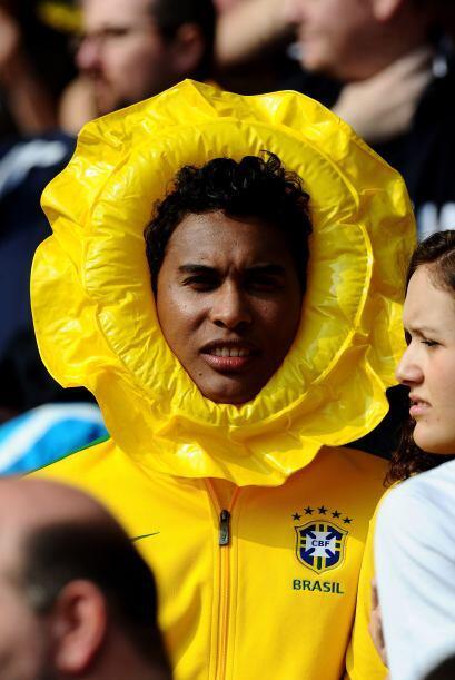 Para afición colorida la brasileña, hasta girasoles habían en la tribuna.