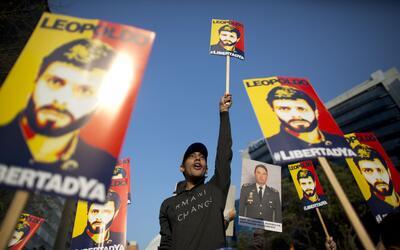 Seguidores de Leopoldo López protestan para exigir su liberaci&oa...