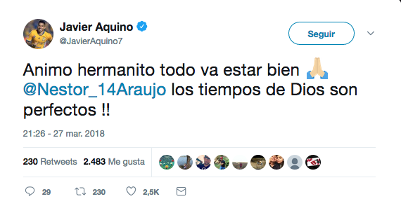 El mundo del fútbol envía mensajes de apoyo a Néstor Araújo tras su lesi...
