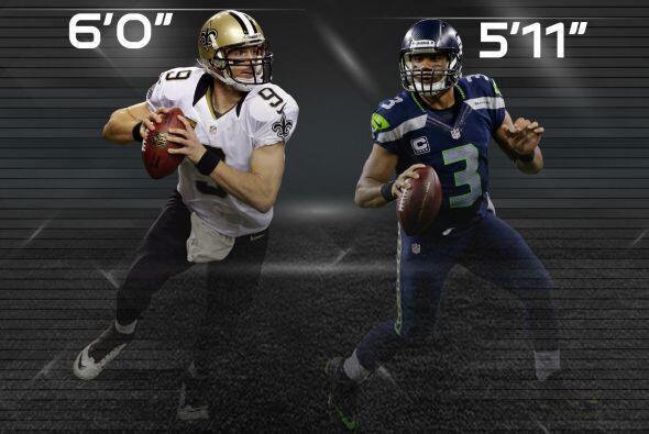 """3. Quarterbacks """"pequeños"""": Drew Brees (6'0"""") y Russell Wilson (5'11"""") e..."""